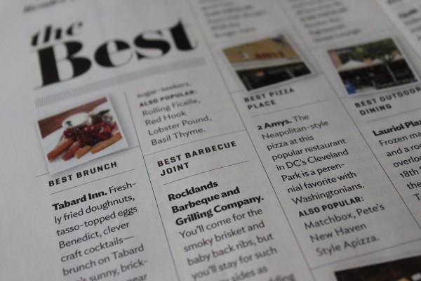 """Washingtonian 2012 """"Best of..."""" winners"""