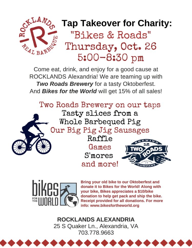"""Bikes & Roads"" Tap Takeover for Charity @ ROCKLANDS Alexandria"