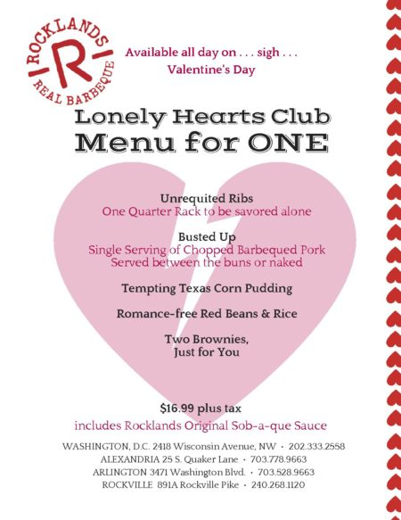Rocklands Valentines Day menu 2017