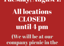 Special hours Tuesday, August 1